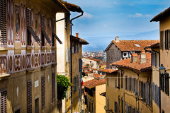 Firenze, Italy. View of facade houses in Firenze, Italy stock images