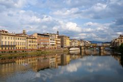 Firenze - Italy - Arno river and Alle Grazie Bridg Royalty Free Stock Photo