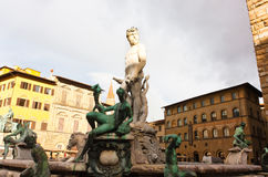 FIRENZE, ITALY - February 06, 2017 - Famous Fountain of Neptune Royalty Free Stock Image