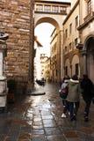 FIRENZE, ITALY - February 06, 2017 -  Piazza della Signoria. FIRENZE, ITALY - February 06, 2017 -  Galleria dell`Accademia di Firenze.  Piazza della Signoria Royalty Free Stock Photos