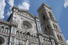 View of Florence Cathedral. Firenze, Italy - June 21, 2018 : View of Florence Cathedral Cattedrale di Santa Maria del Fiore and Giotto bell tower Campanile di stock images