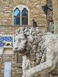 Firenze: Leone al Palazo Vecchio immagine stock libera da diritti