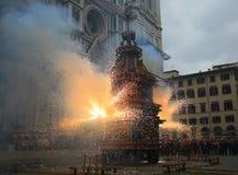 Firenze, lo scoppio del carretto su Pasqua Immagine Stock