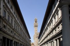 Firenze - Palazzo Vecchio e galleria di Uffizi fotografia stock libera da diritti