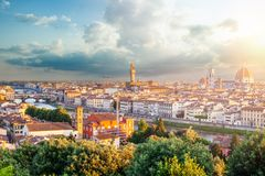 Firenze panorama. View of Florence Italy with Florence Duomo, Basilica di Santa Maria del Fiore and the bridges over the river. Arno royalty free stock photo