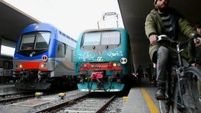 Firenze Santa Maria Novella railway station, Florence, Italy,. FLORENCE, ITALY - DEC 31: Passengers at the Firenze Santa Maria Novella railway station on stock footage
