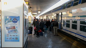 Firenze Santa Maria Novella railway station, Florence, Italy,. FLORENCE - DEC 31: Passengers at the Firenze Santa Maria Novella railway station on December 31 stock video