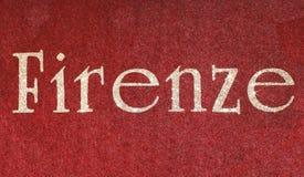 firenze som är skriftlig av en italiensk stad arkivbild