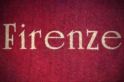 firenze som är skriftlig av en italiensk stad med, blänker stilsorten Royaltyfri Fotografi