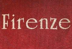 firenze som är skriftlig av en italiensk stad med, blänker stilsorten Fotografering för Bildbyråer