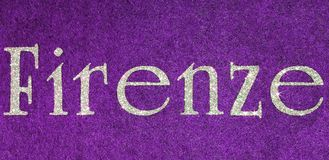 Firenze text of an Italian City with glitter font on purple back. Firenze text of an Italian City on purple fabric and characters in glitter. The violet is the royalty free illustration