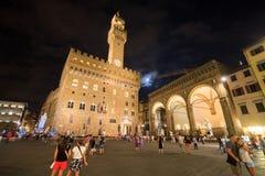 Firenze, turisti in della Signoria Italia della piazza Fotografia Stock Libera da Diritti