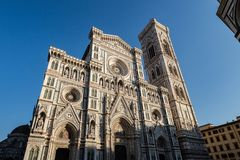 Firenze, Tuscany Italy - December 30, 2018 frontal lower view the Duomo of Florence and Giotto`s Bell Tower. During the day royalty free stock image