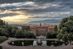 Firenze. View on Florence from the Boboli Gardens behind Palazzo Pitti Royalty Free Stock Photo