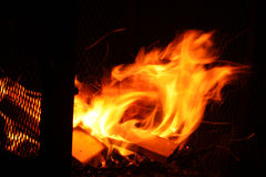 Firepit with color flames Stock Images