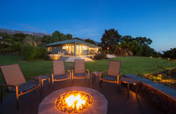 Firepit outside of an estate home