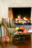 Fireplace. Nice fireplace in the big house stock images