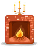 Fireplace. Illustration of isolated a fireplace on white background Stock Photos