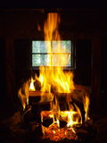 Fireplace. Inside an old logging cabin Royalty Free Stock Photography