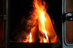 Fireplace. Burning wood in a fireplace Royalty Free Stock Image