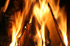 Fireplace. Burning wood in a fireplace Royalty Free Stock Photos