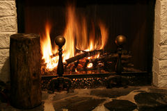 Fireplace. Shot of a Fireplace during the holidays Royalty Free Stock Images