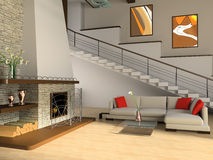 Fireplace. And sofa in a drawing room against a ladder Royalty Free Stock Image