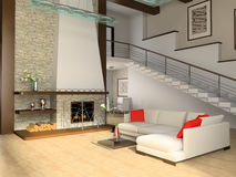 Fireplace. And sofa in a drawing room Stock Photo