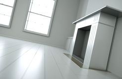 Fireplace. Empty white interior with focus on fireplace. 3D render Stock Photo