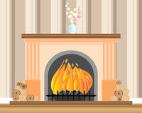 Fireplace. An illustration of a fireplace with a roaring fire logs a vase of orchids and striped wallpaper Stock Photography