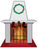 Fireplace. In living room decorated for Christmas Royalty Free Stock Photography