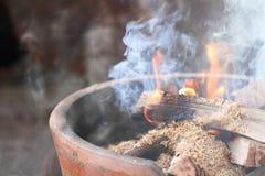 Fireplace. Closeup of a native fireplace Stock Image