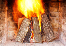 Fireplace. Close image of fire in the fireplace royalty free stock photo