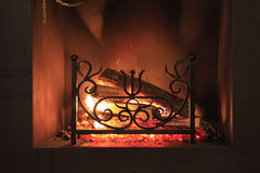 Fireplace. Fire with sparks in a beautiful fireplace Stock Photos