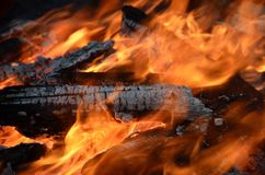 Fireplace. Hot burning fireplace in close view Royalty Free Stock Photos