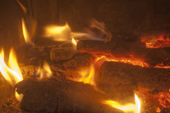 Fireplace. Close-up of flames in a fireplace Stock Photo