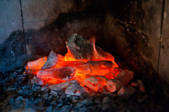 Fireplace. Horizontal photo of a live / glowing coal in a fireplace Royalty Free Stock Images