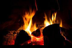 Fireplace. Fire burning in the fireplace Royalty Free Stock Photos