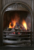 Fireplace 3. Close up of black coal fire stock images