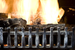 Fireplace. Fire burning in a fireplace close up background photo Stock Images