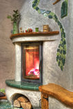 Fireplace. Fire burning in the fireplace Royalty Free Stock Photo