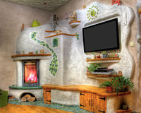 Fireplace. In living room with TV Stock Images