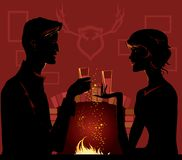 By fireplace. Couple enjoy hot drink by fireplace Stock Illustration