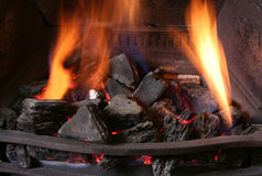 Fireplace 4. Close-up of black iron coal fire Royalty Free Stock Images