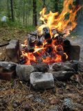 Fireplace. Fire for barbeque Stock Image