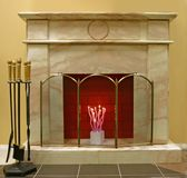 Fireplace. Interior with real classik fireplace Stock Photography