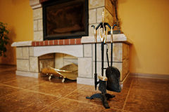 Fireplace Accessories Tools Background Fireplace Stock Image