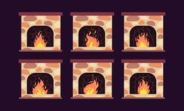 Fireplace animation. Home retro fireplaces with fire. Cartoon christmas and interior vector decoration. Fireplace interior decoration, animation bright burning vector illustration
