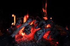 Fireplace background (fire texture) Stock Images