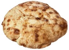 Fireplace Baked Delicious Domestic Traditional Leavened Pitta Flatbread Loaf Isolated On White Background.  Stock Image